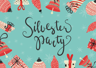 Vector illustration. sylvester party card in german.