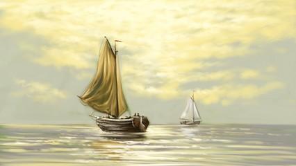 Digital oil paintings sea landscape. Fisherman, ships, boats. Fine art.