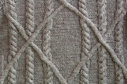 Closeup Gray Texture Of Cable Knit Aran Pattern Stock Photo And