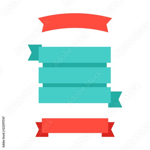 Flat vector ribbons banners flat  Banner ribbon vector set