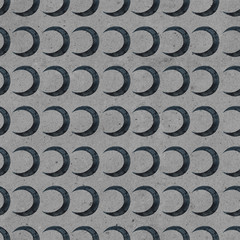 Seamless gothic pattern with black moon on gray crafting background