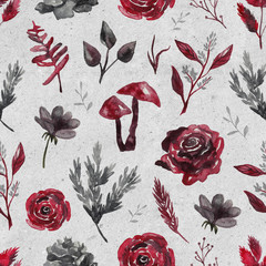 Seamless pattern with watercolor flowers, plants on gray crafting background. Gothic background