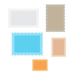 Postage stamps and mail stamp. Set of postal stamp frame background