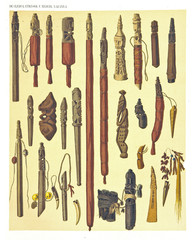 Ancient detailed ethnic collection of african sticks wooden decorated, coast of Dutch New Guinea, isolated elements. By F.S.A. De Clercq and J.D.E. Schmeltz Leiden 1893 New Guinea