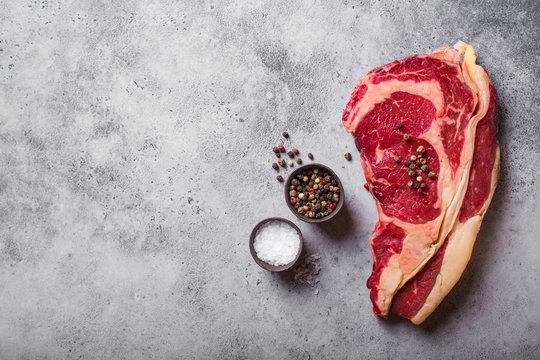 Raw marbled beef Rib eye steak