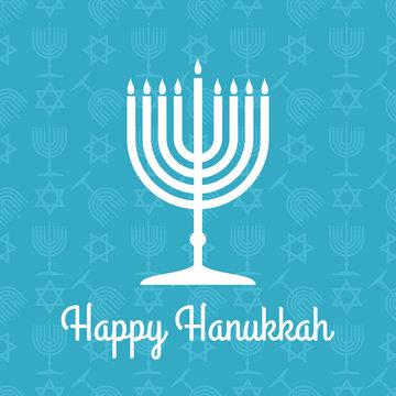 Happy Hanukkah poster or greeting card with menorah. Vector illustration.