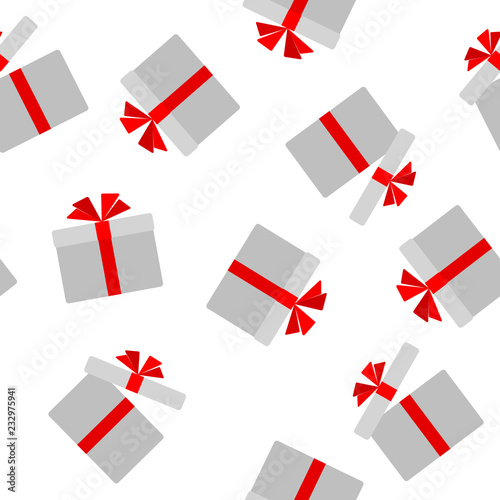 Seamless Pattern Of Flat Gift Box With Red Ribbon Bow Background