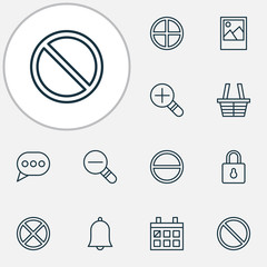 Internet icons set with messaging, access denied, remove and other shop