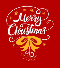 Merry Christmas lettering designs.  Vector white and yellow illustrations for posters t-shirt or postcard on a red background. Calligraphic hand drawn font