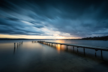 The last sunlight. Magnificent long exposure lake  view after sunset near Varna, Bulgaria.