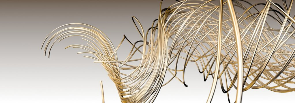 gold wire line isolated on white background, 3d Rendering