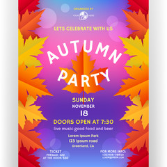 Autumn party poster design with customized text.
