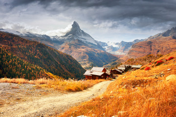 Wall Mural - Matterhorn slopes in autumn