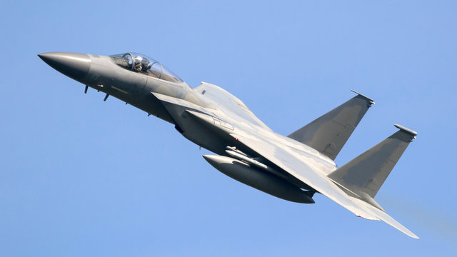 American air force military fighter jet aircraft in flight