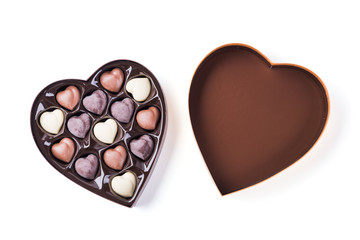 Box of Heart Shaped Chocolates. Valentines Candy