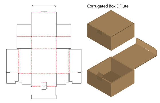 corrugated paper box die cut with 3d mock up