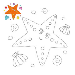 drawing worksheet for preschool kids with easy gaming level of difficulty. Simple educational game for kids. Illustration of starfish, seashells and pebbles for toddlers