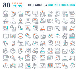 Set Vector Line Icons of Freelancer and Online Education.