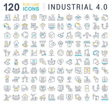 Set Vector Line Icons of Industrial 4.0.