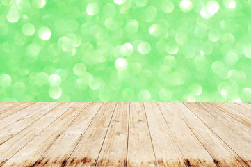 Wooden with Green glitter bokeh background