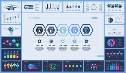 Set of planning or strategy concept infographic charts. Business diagrams for presentation slide templates. For corporate report, advertising, banner and brochure design