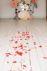 Path to the marriage covered with rose petals