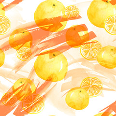 Watercolor seamless background, blot, blob, splash of white, orange, yellow  paint. Watercolor spot, abstraction. Tropical fruits, orange, mandraine, lemon, splash of paint, movement. Abstract.