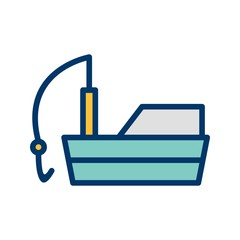 Fishing Boat Transport filled two Color Icon