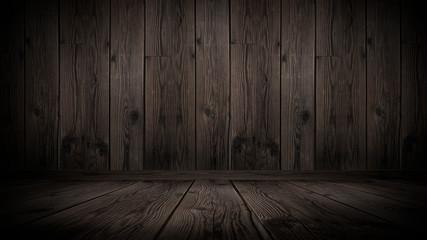 Wooden empty background, dark empty room.