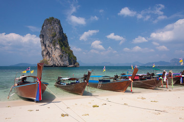 Traditional Thai boats on the beach. Thailand