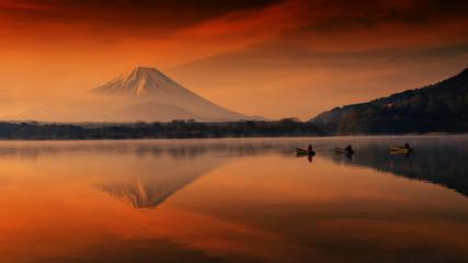 Fujisan at dawn in Shoji lake with fishermen