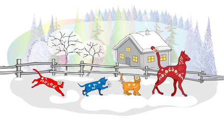 Funny picture for the New year and Christmas. Colorful cats in the snow on the background of the winter landscape.