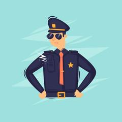 Policeman. Flat design vector illustration.