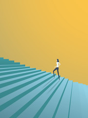 Buisnesswoman climbing career steps vector concept. Symbol of ambition, motivation, success in career, promotion.