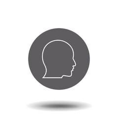 User linear icon. Human head. Thin line illustration. Profile contour symbol. Man face side view. Vector isolated outline drawing.