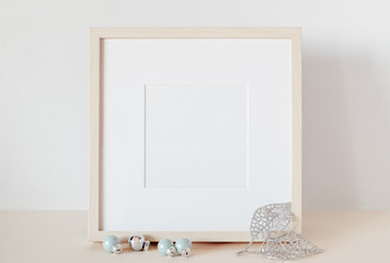 Mock up template under the inscription with Christmas decorations. Frame mockup