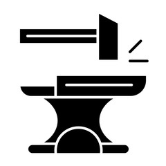 Anvil with hammer solid icon. Blacksmith vector illustration isolated on white. Smith glyph style design, designed for web and app. Eps 10.