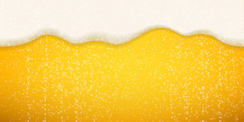 Beer foam bubbles background. Vector seamless realistic craft beer flowing foam with sparkling bubbles