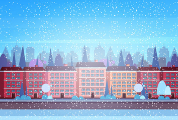 city building houses winter street cityscape background merry christmas happy new year concept flat horizontal flat vector illustration