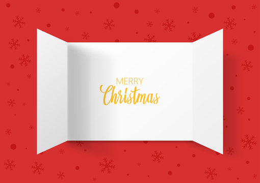 Advent Calendar Doors opening with snowflakes. Greeting Card. Merry Christmas lettering, vector illustration