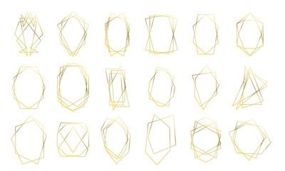 Gold geometric frames, wedding invitation card golden diamond shapes. Vector premium luxury gold abstract geometric frames