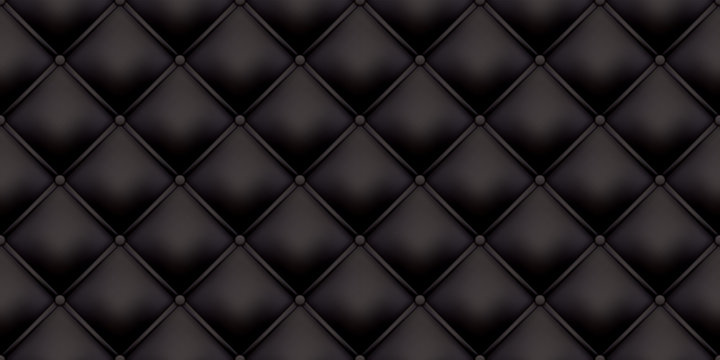 Black leather upholstery pattern texture background. Vector vintage royal sofa leather upholstery with buttons seamless pattern