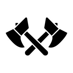 Crossed axes solid icon. Ax vector illustration isolated on white. Work tools glyph style design, designed for web and app. Eps 10.