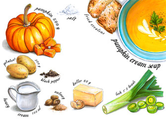 Colorful and juicy pumpkin cream soup recipe illustration. Drawing alcohol markers of autumn vegetables and culinary ingredients with a clear center for text. Healthy food.
