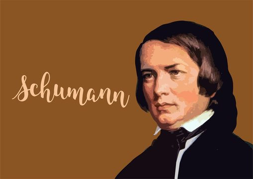 Great composers - Robert Schumann portait with vector signature