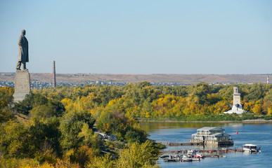 Monument to Lenin, the boat station and the lighthouse on the Volga River near Volgograd