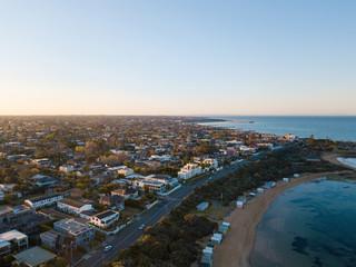 Aerial view of Brighton Beach coastline in Melbourne, Australia.