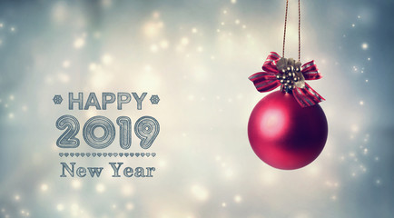 Happy New Year 2019 message with a hanging bauble ornament
