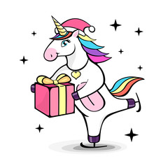 Vector illustration of fantasy skating unicorn with christmas present. Cartoon style design