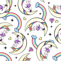 Seamless pattern of fantasy unicorn reading book on the Moon.